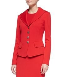St. John Collection Red 4button Blazer - Lyst