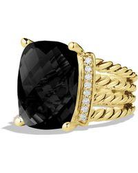 David Yurman Wheaton Ring With Black Onyx & Diamonds In Gold - Yellow