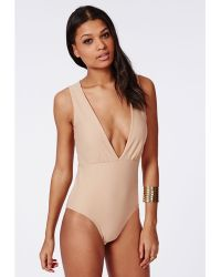 Missguided Sleeveless Plunge Crepe Bodysuit Nude - Lyst