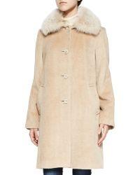 Sofia Cashmere Alpaca Button-Front Coat W/ Fur Collar - Lyst