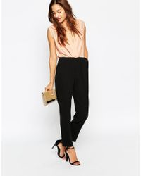 Asos Jumpsuit With Contrast Wrap Front - Lyst