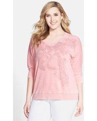 DKNY 'Sketchy Floral' Embellished Sweatshirt - Lyst