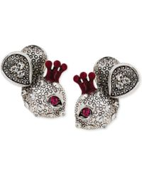 Betsey Johnson Silvertone Mouse Stud Earrings - Lyst