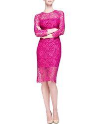 Lela Rose Long-Sleeve Lace Sheath Dress - Lyst