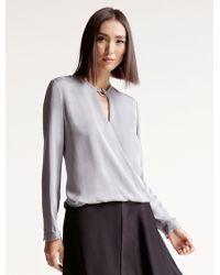 Halston | Drape Silk Top | Lyst