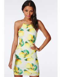Missguided Crepe Strappy Cross Back Bodycon Dress Lemon Print - Lyst