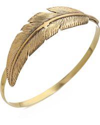 Sunahara Feather Wrap Bangle Bracelet - Gold - Metallic