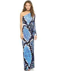Diane Von Furstenberg One Shoulder Maxi Wrap Dress - Python Giant Blue - Lyst