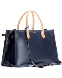 Balenciaga Padlock Nude Work S Leather and Snakeskin Tote - Lyst