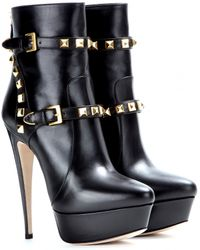 Miu Miu Leather Platform Ankle Boots - Lyst