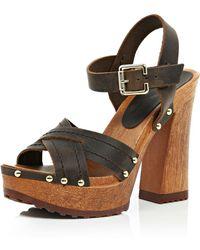 River Island Dark Brown Leather Wooden Platform Sandals brown - Lyst