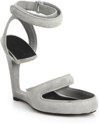 Alexander Wang Celia Suede Cutout-Sole Wedge Sandals - Lyst