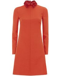 Valentino Crepe Couture Collared Dress - Lyst