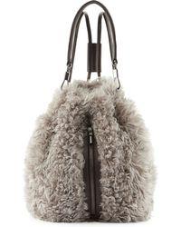 Elizabeth And James Cynnie Lamb Fur Drawstring Backpack - Lyst