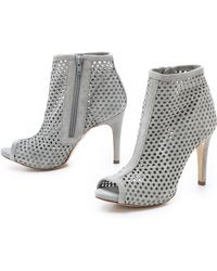 Pedro Garcia Sylvana Suede Perforated Booties - Mist - Lyst