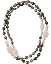 Belpearl Tahitian Pearl & African Opal Necklace - Lyst