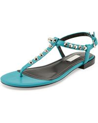 Balenciaga Giant Nickel Studded Thong Sandal - Lyst