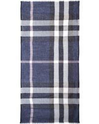 Burberry Mega Check Modal and Cashmere Scarf blue - Lyst