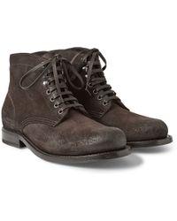 Bottega Veneta Brushed-leather Lace-up Boots - Lyst