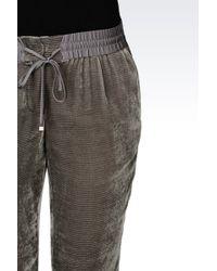 Armani - Trousers In Devoré Velvet - Lyst
