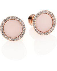 Michael Kors Rose & Blush PavÉ Stud Earrings pink - Lyst