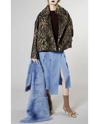 Rochas - Medium Blue Lamb Shearling Stole - Lyst