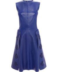 Alexander McQueen Laser Cut Leather Dress - Lyst