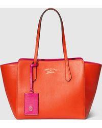 Gucci Swing Small Leather Tote - Orange