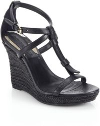 Burberry Wedland Leather Espadrille Wedge Sandals black - Lyst