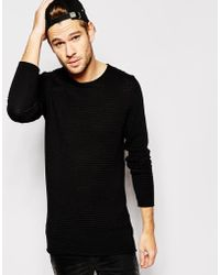 SELECTED Selected Longer Length Body Ribbed Crew Neck Knitted Sweater - Black
