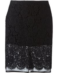 MSGM Lace Sheer Skirt - Lyst
