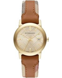 Burberry Ladies The City Watch With Leather And Haymarket Strap - Lyst