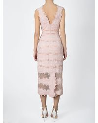 Jonathan Simkhai Burnout Brocade Midi Mesh Dress pink - Lyst