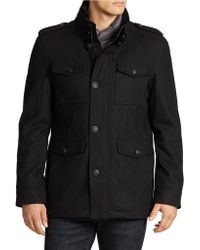 Guess Single Breasted Wool Coat - Black