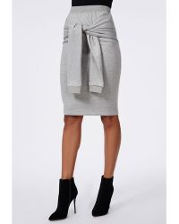Missguided Sweatshirt Tie Waist Midi Skirt Grey Marl - Lyst