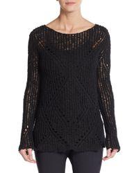 Maje Black Open-Knit Pullover - Lyst