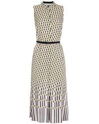 Paul Smith 'Harlequin Stripe' Silk Midi Dress With Black Goatskin Belt - Lyst