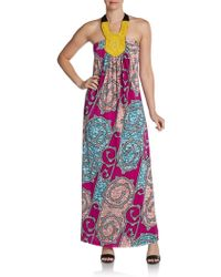 T-bags Beaded Halter Maxi Dress - Multicolor