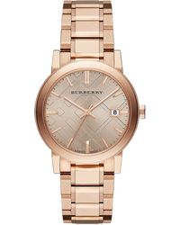 Burberry Rose Gold-tone Watch with Hydraulic Stamp Dial - Lyst