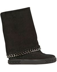 Casadei 90mm Suede Chained Wedged Boots - Lyst