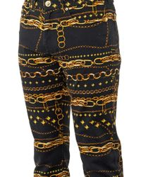 Versus  Chainprint Stretchcotton Jeans - Lyst