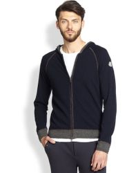 Moncler Wool  Cashmere Hooded Track Jacket - Lyst