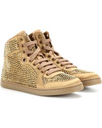 Gucci Crystal-embellished Satin High-tops - Lyst