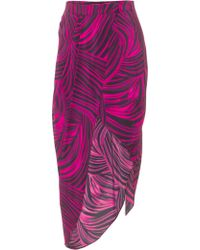 House Of Holland Wrap Skirt Magenta Drape - Lyst