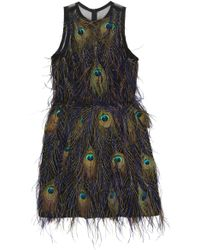 Nicole Miller Peacock Feathers Dress - Lyst