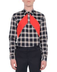 Givenchy Plaid Woven Shirt with Contrast Panels - Lyst