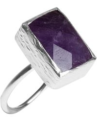 Toosis Amethyst Rectangle Stone Silver Ring - Lyst