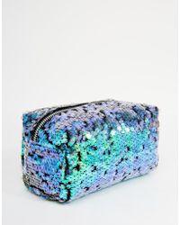 Jaded London Mermaid Sequin Make-Up Bag - Blue