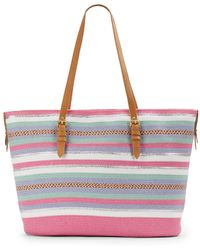 Saks Fifth Avenue - Mixed Stripe Straw Tote - Lyst