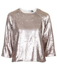 Topshop Two-Tone Sequin Sweat pink - Lyst